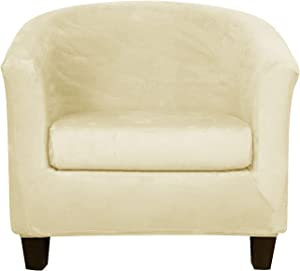 2 Pieces Velvet Tub Chair Covers with Cushion Cover Stretch Soft Removable Tub Chair Slipcovers Armchair Sofa Couch Furniture Protector for Living Room Club Bar Counter Hotel (Beige)