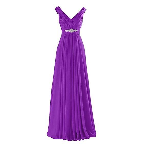 Damen V-Ausschnitt Chiffon Abendkleider Brautjungfernkleid Festkleid ...