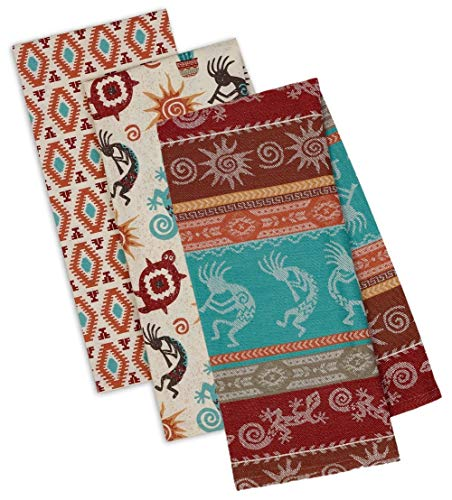 Southwestern Themed Decorative Cotton Kitchen Towel Set | Southwest, Boho, Western Style Print | 3 Towels for Dish and Hand Drying (South Clothing Western)