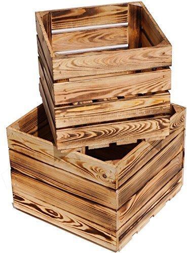 "SET DE DOS PEQUEÑAS flameadas cajas fruta ""BäRBEL"" 36x36x30cm & 30x30x29cm MACETA VINO"