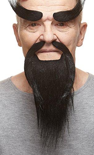 (Mustaches Self Adhesive, Novelty, Shaolin Monk Fake Beard, Fake Mustache and Fake Eyebrows, Black)