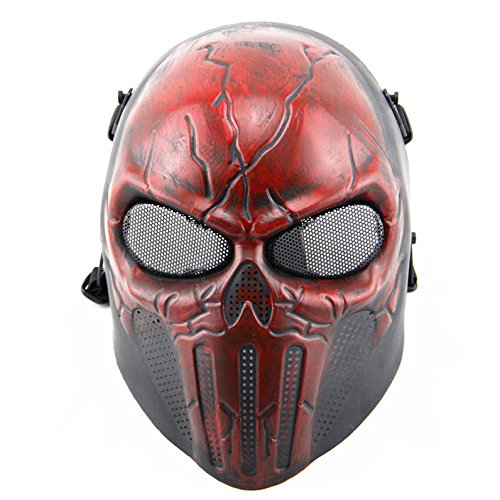 FAMI Punisher Skeleton Protective Mask Gear for Airsoft & Outdoor Cs War Game Live Field Mask - Scary Ghost Skull Mask for Halloween (Red and (Halloween Games Adults)