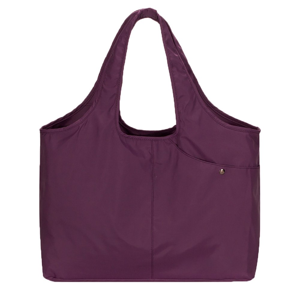 Volcanic Rock Waterproof Shoulder Shopping Bag Lightweight Totes Water-Resistant Nylon Large Capacity Purse(8045_Purple)