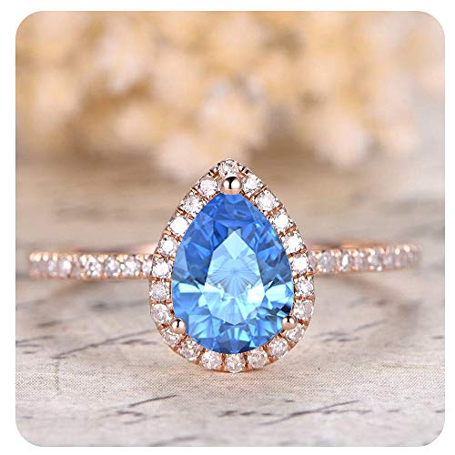 1.50 Ctw Pear Shaped Created Blue Topaz & White Diamond 14k Rose Gold Over .925 Sterling Silver Engagement Ring for Women's (Pear Topaz Shaped)