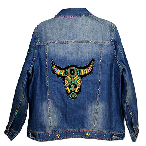 Montana West Delila, Hand Embroidered Blue Jean Jacket- Longhorn, SM to X-LG(L) -
