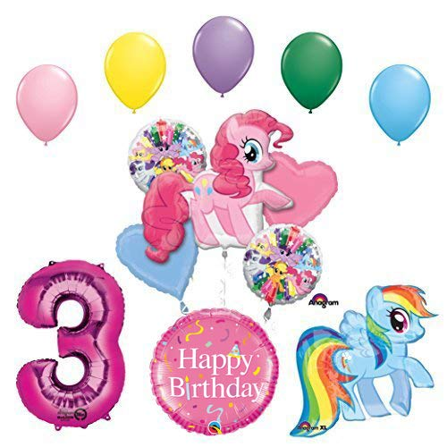 My Little Pony Pinkie Pie and Rainbow Dash 3rd Birthday Party Supplies and Balloon Decorations]()
