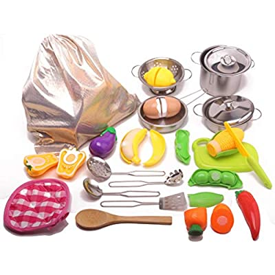 23pcs Kids Kitchen Pretend Play Toys Toy Kitchen Set with Stainless Steel Cooking Utensils Cookware Pots and Pans Set Fun Cutting Fruits Vegetables Pretend Food Playset for Kids, Girls, Boys, Toddlers: Toys & Games