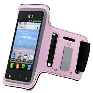 Baby Light Pink Black ArmBand Workout Case Cover For LG Optimus Logic L35g with Free Pouch
