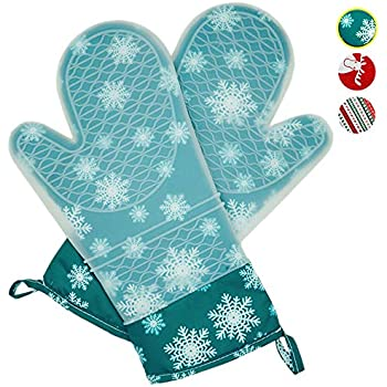 MeLonflo Heat Resistant Silicone Oven Mitts with Waterproof, Non-Slip Protective Pot Holder for 500 Degree, 2 Oven Gloves Christmas Printing Cotton Lining for Baking, Grilling, Cooking(1 Pair Green)
