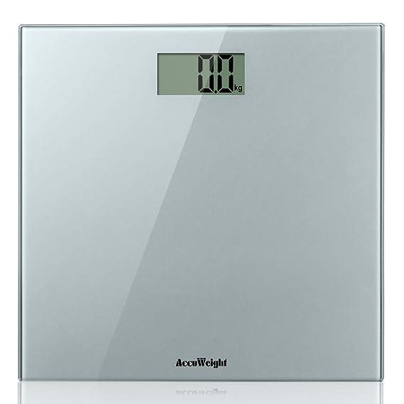 ACCUWEIGHT Báscula de Baño Digital de Alta Medición Precisa 180 kg Balanza Digital Baño con Plataforma de Vidrio Seguridad, Plata