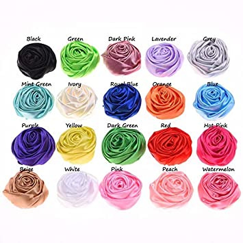 120pcs 4cm Satin Ribbon Rose Artificial Fabric Flowers For Baby Headbands