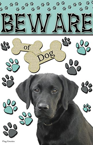 Beware Of Dog Black Lab Funny Double Sided Garden Flag Emotes Yard (Black Lab Flag)