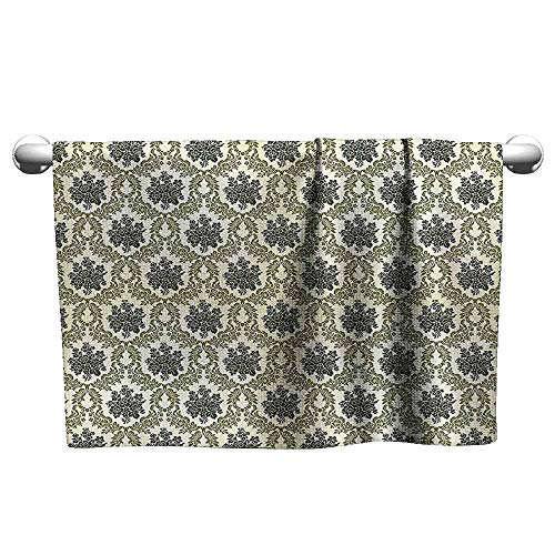 (Cute Hand Towels Damask Decor Collection Vintage Floral Damask Brocade with Abstract Bouquet Greenery Pattern Artwork Print Popular Bath Sheets 35 x 12 inch Green Beige)