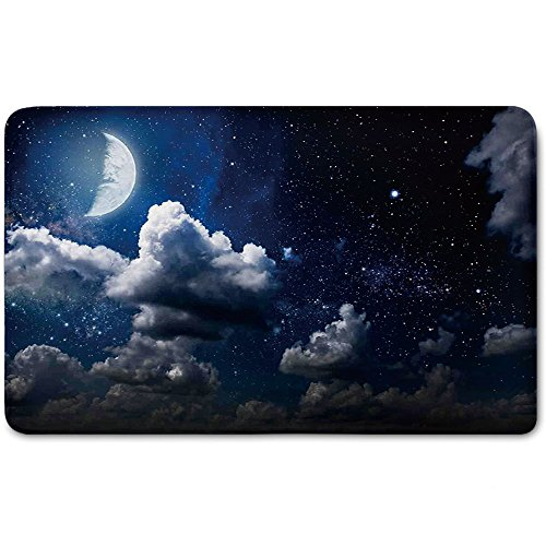 Memory Foam Bath Mat,Clouds,Celestial Solar Night Scene Stars Moon and Clouds Heaven Place in Cosmos ThemePlush Wanderlust Bathroom Decor Mat Rug Carpet with Anti-Slip Backing,Dark Blue White by iPrint