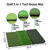Tri-Turf Golf Hitting Mat, Portable Golf Grass