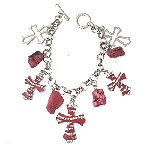 Crystal Cross Toggle Bracelet - Gypsy Jewels Pink Zebra Print Cross Charms with Chip Stone Dangles Silver Tone Beaded Rhinestone Toggle Bracelet