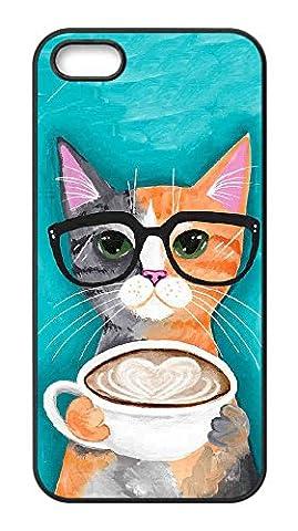 LaraKnight Design Iphone 5S Phone Cases,Coffee Cat DIY Special Design Mobile Phone Cases for Iphone (5s Cases Special)