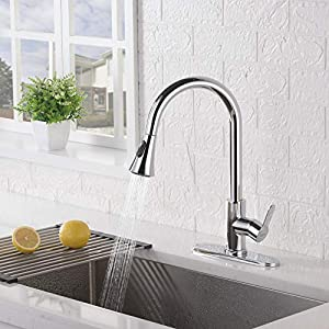 AMAZING FORCE Kitchen Faucet with Pull Down Sprayer Kitchen Sink Faucet Single Handle Kitchen Faucet Chrome Utility Sink…