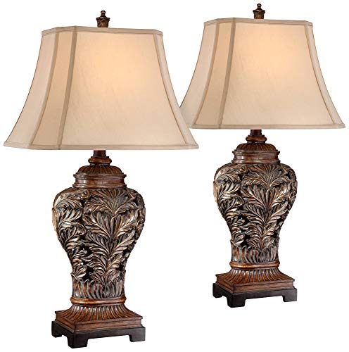 Traditional Table Lamps Set of 2 Bronze Curling Leaves Tan Rectangular Shade for Living Room Family Bedroom Bedside - Barnes and Ivy (Oriental Sale For Lamps)