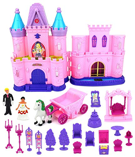 WG Toys Children's Castle Toy Doll Playset with Lights, Sounds, Prince and Princess Figures, Horse Carriage, Castle Play House, Furniture, Accessories (Styles May Vary) ()