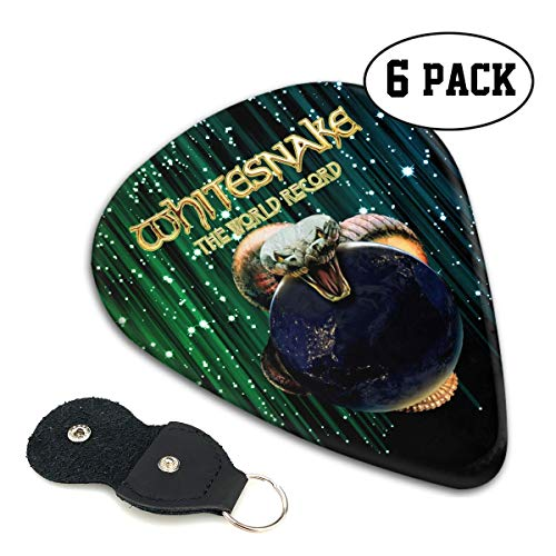 (Tammy W Nash Whitesnake Guitar Picks Guitar 6 Picks with Leather Picks Holder for Electric Guitar, Acoustic Guitar, Mandolin, and Bass)
