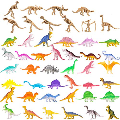 BeYumi Mini Dinosaur Figure, 60 Different PCS of Vinyl Plastic Dinosaur Toys Set, 39 PCS Little Dino Bones Fossils + 12 PCS Dinosaur Skeleton + 10 PCS Colorful Dinosaur, Gift Pack for Party Favors]()