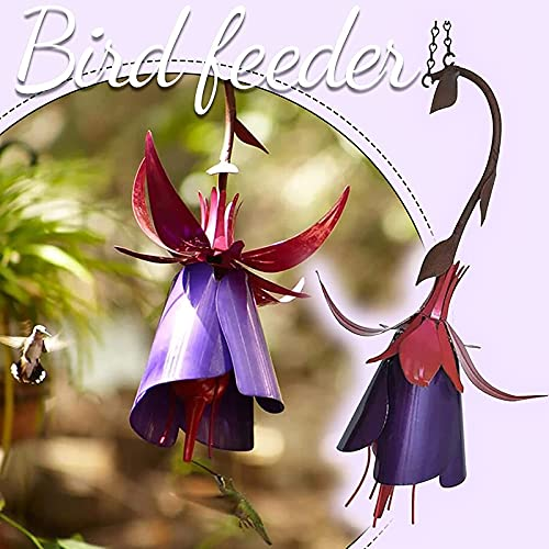 Fuchsia Hummingbird Feeder Flower Outdoor Metal Garden Art Flower Bird Feeder, All Weather Outdoor Bird Feeder (Fuchsia)