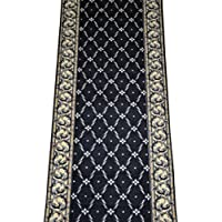 Dean Washable Carpet Rug Runner - Trellis Black - Purchase By the Linear Foot