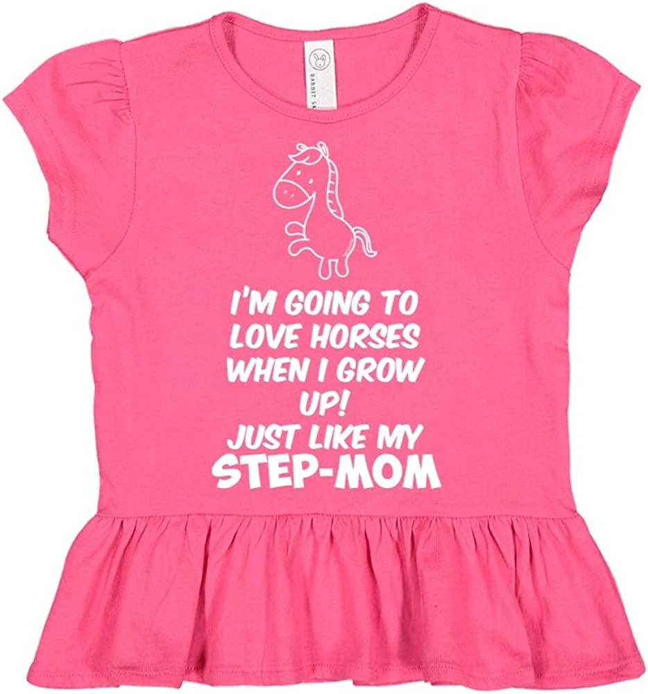Im Going to Love Horses When I Grow Up Toddler//Kids Ruffle T-Shirt Just Like My Step-Mom
