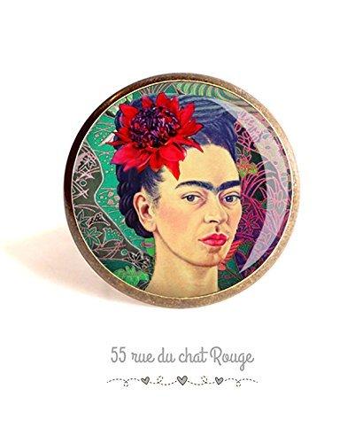 Bague cabochon 25 mm, Frida Khalo, portrait femme, Mexique, multicouleur