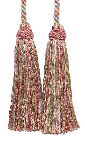 - DecoPro Double Tassel/Dusty Rose, Pastel Green, Lt Gold/Tassel Tie with 4 inch Tassels, 26