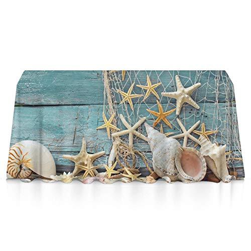 GOAEACH Table Cloths, Dust-Proof Stain Resistant Seashells Starfish