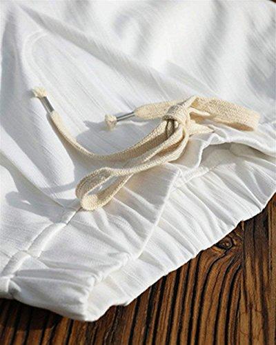 Slim Eleganti Trousers Estivi Modern Moda Harem Pantaloni Lunga Moda Semplice Con Bianca Tempo Fit Stile Coulisse Donna Tasche Elastica Di Pantaloni Con Pantaloni Libero Vita Glamorous Stoffa Accogliente Di nxFqZ