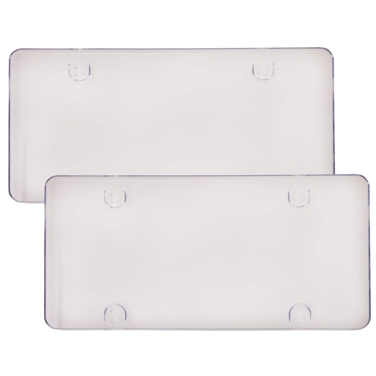 WildAuto License Plate Cover, 2Pack Car Licenses Frame Shields with Screws Caps (Clear Flat)