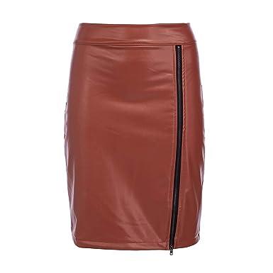 hibote Vestido de Cuero para Mujer Faldas de Cuero sintético de ...