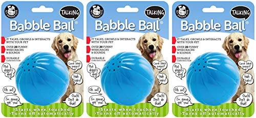 Pet Qwerks 3 Pack of Talking Babble Balls, Large, Interactive Dog Toy, Wisecracks and Makes Funny Sounds When Touched ()