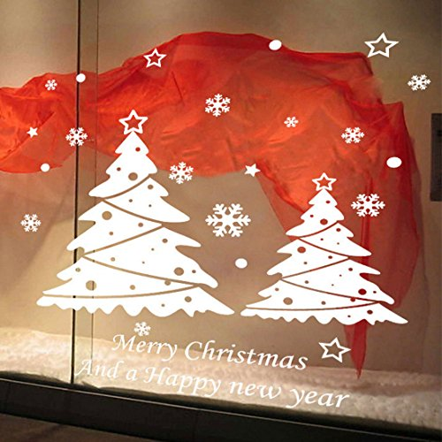 A-SZCXTOP White Christmas Wall Decal & Christmas Tree Window Sticker, Removable, Snowflake Window Clings for Christmas Decoration.