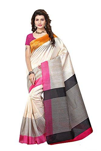 ner Cream Bhagalpuri Silk Printed Saree ()