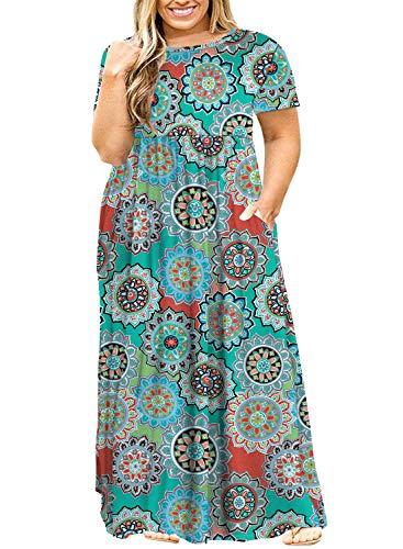 (POSESHE Women's Plus Size Tunic Swing T-Shirt Dress Long Sleeve Maxi Dress with Pockets (3X, Greenprint))