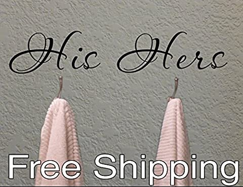 HIS and HERS towel hook wall vinyl sticker home decor cute bathroom Free Shipping (His And Her Bathroom Decor)
