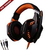 [New version]G2000 Wired Gaming Headphone, CEStore® KOTION EACH Vivid Sound Shock Clarity Game Headset Earphone Headband with Mic Stereo Bass LED Light & Noise Isolation for PC Computer Game - Orange