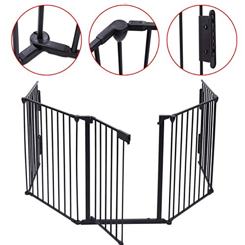 Upgraded Fireplace Safety Fence Baby Gate/Fence BBQ Pet Metal Fire Gate Baby Play Yard with Door 5 Panels Safety Gate for Pet/Toddler/Dog/Cat US Stock by Tenozek (Image #2)
