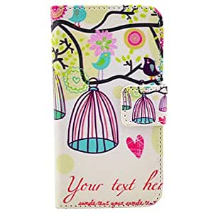 DD Love Birds And Birdcage Pattern PU Leather Full Body Case for iPhone 4/4S