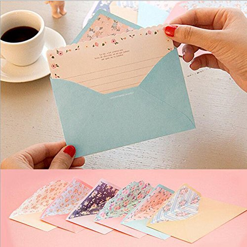 SCStyle 32 Cute Lovely Kawaii Special Design Writing Stationery Paper+16 Envelope 3.5 x5.4 Inch +1 Seal Sticker(Flower)