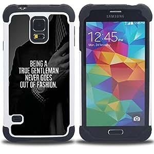 """SAMSUNG Galaxy S5 V / i9600 / SM-G900 - 3 en 1 impreso colorido de Altas Prestaciones PC Funda chaqueta Negro cubierta gel silicona suave (Gentleman Traje Moda Texto Consejo inteligente"""")"""