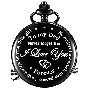 Dad Gift from Daughter to Father Engraved Pocket Watch – No Matter How Much Time Passes, I Will Always Be Your Little…