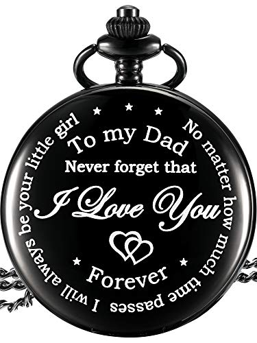 Hicarer Dad Gift from Daughter to Father Engraved Pocket Watch - No Matter How Much Time Passes, I Will Always Be Your Little Girl (Dad Gifts, White Dial)