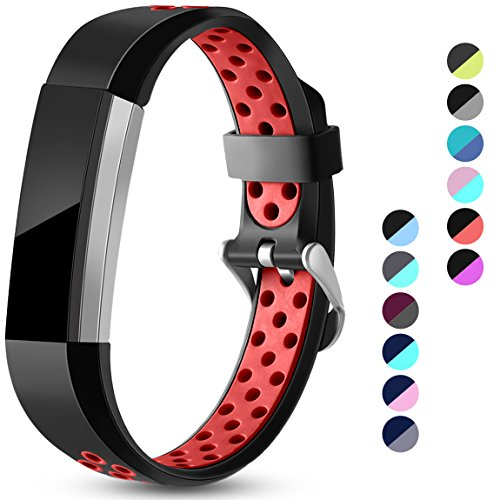Maledan Replacement Bands Compatible for Fitbit Alta, Fitbit Alta HR and Fitbit Ace, Accessory Sport Bands Air Holes Breathable Strap Wristbands with Stainless Steel Buckle, Black/Red, Large