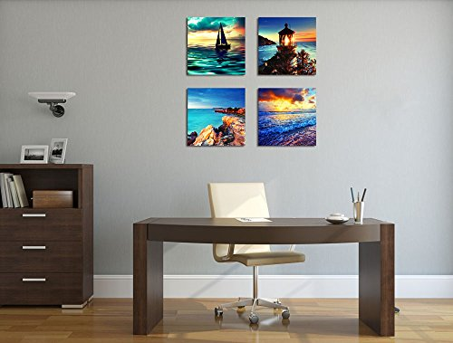 "Canvas Wall Art Ocean Sunset Beach Painting 12"" x 12\"" x 4 Pieces Blue Seascape Canvas Art Sea Shore Nature Picture Modern Artwork Sailboat Lighthouse Framed Ready to Hang for Home Office Decoration"