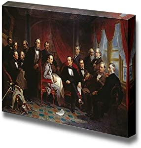"SIMIGREE Washington Irving and his Literary Friends at Sunnyside by Christian Schussele - Canvas Print Wall Art Famous Painting Reproduction - 12"" x 18"""